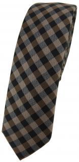 schmale TigerTie Krawatte Schlips braun dunkelbraun anthrazit kariert (4, 5 cm)