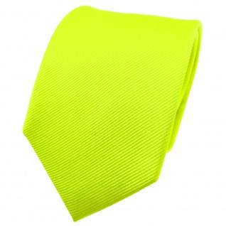 TigerTie Seidenkrawatte grün neongrün einfarbig Uni Rips - Krawatte Seide Binder