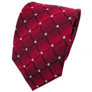 TigerTie Seidenkrawatte rot dunkelrot schwarz silber gemustert - Krawatte Seide
