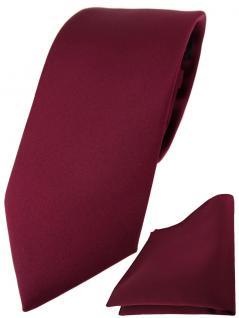 TigerTie Designer Krawatte + TigerTie Einstecktuch in bordeaux einfarbig uni