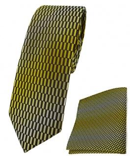 schmale TigerTie Krawatte + Einstecktuch in gelb gold schwarz silber gemustert