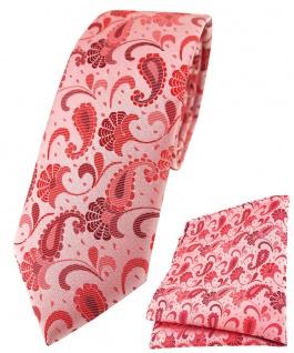 schmale TigerTie Krawatte + Einstecktuch in rose weinrot silberrosa Paisley