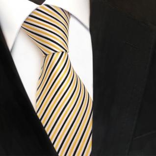 TigerTie Designer Seidenkrawatte gelb schwarz weiß gestreift - Krawatte Seide - Vorschau 3