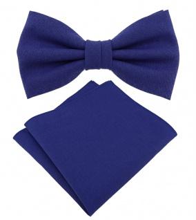 TigerTie Jungenfliege - Einstecktuch in royal Uni - Halsumfang verstellbar - Box