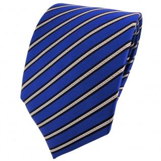 Satin Seidenkrawatte blau leuchtblau silber schwarz gestreift - Krawatte Seide
