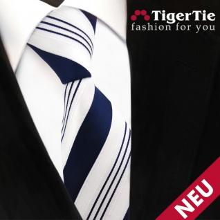 TigerTie Satin Krawatte blau dunkelblau weiß silber gestreift - Binder Schlips - Vorschau 5