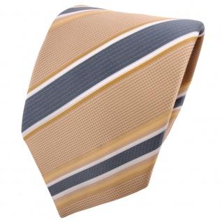 TigerTie Satin Krawatte beige elfenbein anthrazit weiß gestreift - Binder Tie