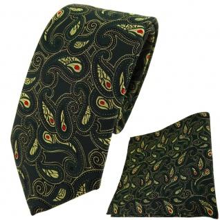 TigerTie Krawatte + Einstecktuch in tannengrün gold rot schwarz Paisley