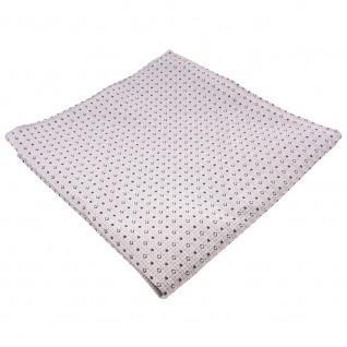 schönes gewebtes Einstecktuch silber grau anthrazit gepunktet - Tuch 100% Seide