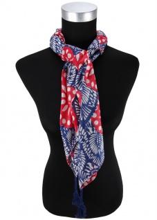 Halstuch in rot blau grau gemustert mit Tusseln an den Ecken - Gr. 100 x 100 cm