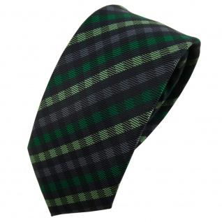Schmale TigerTie Designer Krawatte grün anthrazit schwarz kariert - Schlips Tie