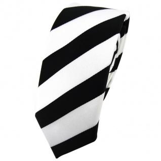 Schmale TigerTie Krawatte schwarz weiß gestreift - Tie Binder