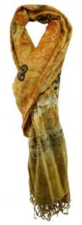 TigerTie Schal in orange gold olive schwarz beige gemustert mit Fransen