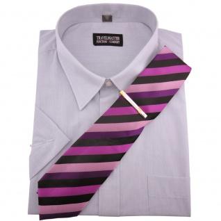 TRAVELMASTER Business Herrenhemd silber Hemd Gr.45/46 XXL kurzarm Krawatte Nadel