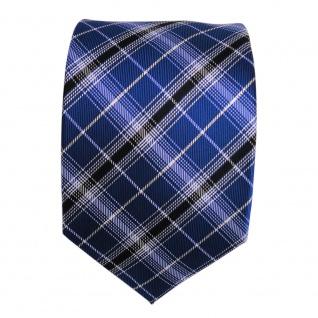 Designer Seidenkrawatte blau kobaltblau silber schwarz gestreift- Krawatte Seide - Vorschau 2