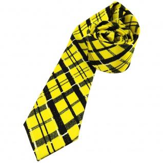 Schmale leichte Kinderkrawatte gelb schwarz weiss kariert - Größe 5, 5 x 125 cm