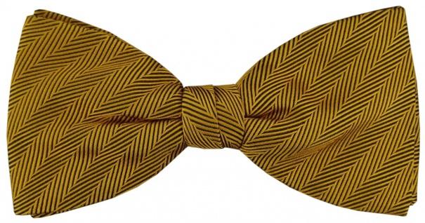 TigerTie Fliege in gold einfarbige Streifenstruktur - Fliege 100% pure Seide