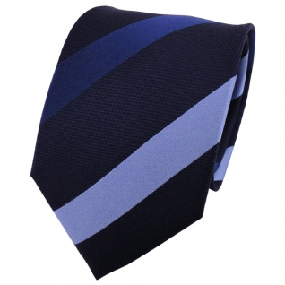 TigerTie Seidenkrawatte blau hellblau dunkelblau gestreift - Krawatte Seide Tie