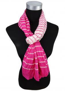 gecrashter Schal in pink rosa weiß gestreift - Gr. 180 x 50 cm
