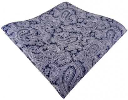 TigerTie Seideneinstecktuch in grau dunkelblau paisley gemustert - Tuch Seide