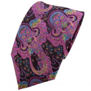TigerTie Krawatte lila rosa türkis Paisley - Binder Tie Schlips