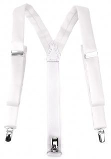 schmaler TigerTie Unisex Hosenträger mit 3 extra starken Clips - in weiss Uni