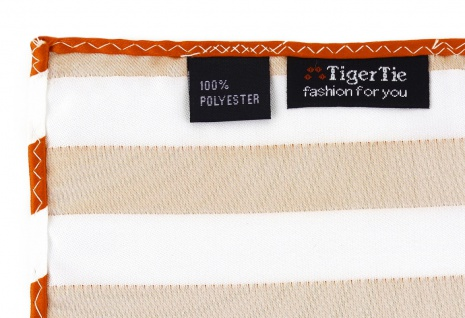 TigerTie Einstecktuch in orange weiss gestreift - Stecktuchgröße 30 x 30 cm - Vorschau 3