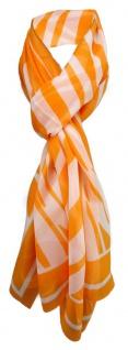 Feiner Chiffon Schal in orange weiß gestreift - Gr. 180 x 55 cm - Halstuch