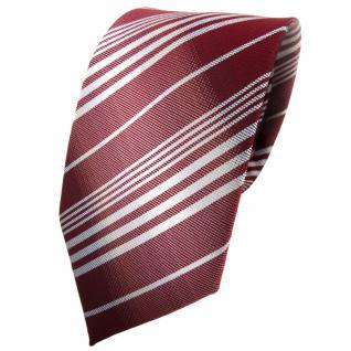 TigerTie Krawatte rot bordeaux weinrot silber grau gestreift - Tie Binder