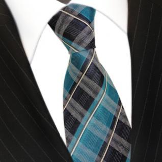 TigerTie Seidenkrawatte türkis mint opal grün blau weiss gestreift - Krawatte - Vorschau 3