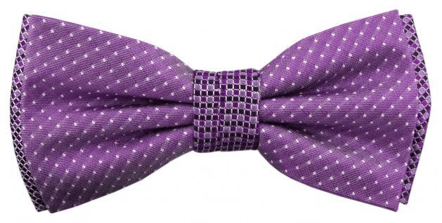 Designer Seidenfliege lila violett silber schwarz gemustert - Fliege 100% Seide