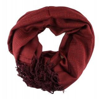 Schal in rotbraun einfarbig gemustert mit Fransen - Größe 180 x 70 cm