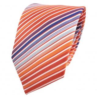 XXL Designer Krawatte orange reinorange blau weiß creme gestreift - Binder Tie
