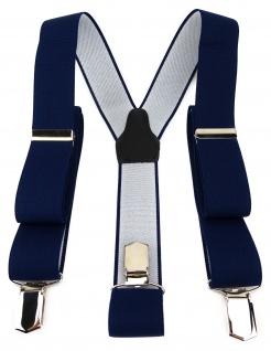 TigerTie Unisex Hosenträger mit 3 extra starken Clips - marine dunkelblau Uni