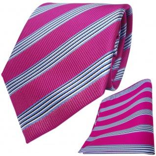TigerTie Designer Krawatte + Einstecktuch pink blau schwarz weiss gestreift