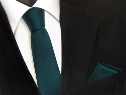 schmale TigerTie Schlips Krawatte + Einstecktuch in grün petrol uni - Binder