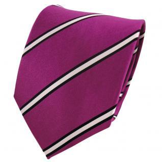 Designer Seidenkrawatte magenta fuchsia silber schwarz gestreift - Krawatte Silk