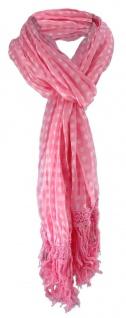 gecrashter Chiffon Schal in rosa weiss gepunktet mit Fransen - Gr. 180 x 50 cm