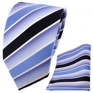 TigerTie Krawatte + Einstecktuch blau hellblau dunkelblau weiß gestreift