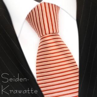 Designer Krawatte Seide Rot-Orange Rose quergestreift