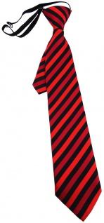 TigerTie Kinderkrawatte rot schwarz gestreift - Krawatte vorgebunden m. Gummizug