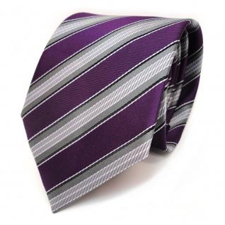 TigerTie Krawatte lila purpur grau silber schwarz gestreift - Schlips Binder Tie