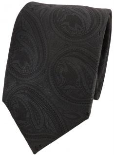TigerTie Designer Krawatte schwarz anthrazit schwarzgrau Paisley Muster