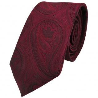 Modische TigerTie Krawatte rot weinrot schwarz paisley Muster - Binder Tie