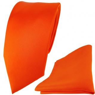 Modische TigerTie Satin Seidenkrawatte + Seideneinstecktuch in orange einfarbig