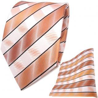 TigerTie Seidenkrawatte + Seideneinstecktuch orange lachs weiß gestreift