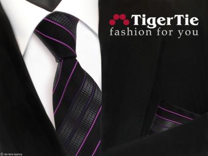 schöne TigerTie Krawatte + Einstecktuch schwarz anthrazit magenta lila gestreift