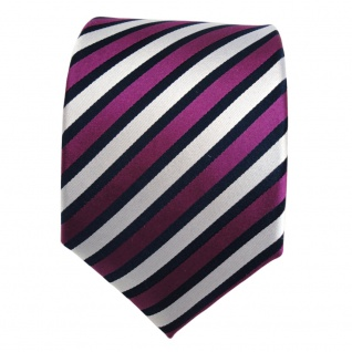 Designer Seidenkrawatte magenta lila silber blau gestreift - Krawatte Seide Tie - Vorschau 2