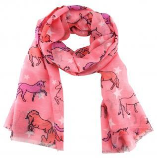 Designer Schal in rosa lila weissgrau schwarz gemustert - Motiv Einhorn-Sterne