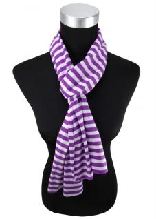 Damen Schal lila violett flieder gestreift Gr. 172 cm x 27 cm - Halstuch Tuch